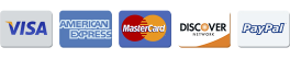 Payment Methods - Visa Mastercard American Express Discover PayPal